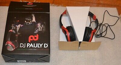 Great SMS Stereo DJ Pauly D Pro DJ Headband Over Ear Headphones-Black and Red