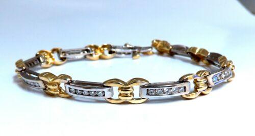 1.40ct Natural Round Diamonds Channel Link Bracelet 14kt