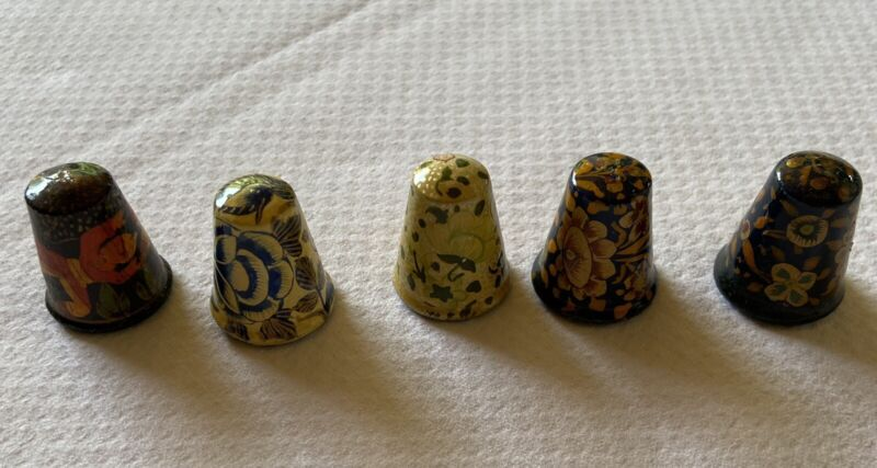 Antique Wooden Hand Painted Thimbles (5 included)