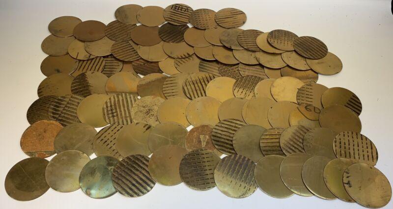 Vintage Lot of 89 Brass Disk Circle Blanks - Estate Find