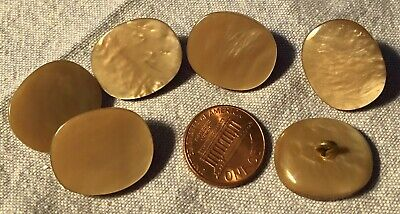 6 Retro Oval Pearlized Tan Shank Buttons 22mm 7/8