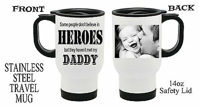 Personalized Photo Travel Mugs ( Personalised Heroes PHOTO Travel Thermal Mug Dad Grandad Fathers Day)