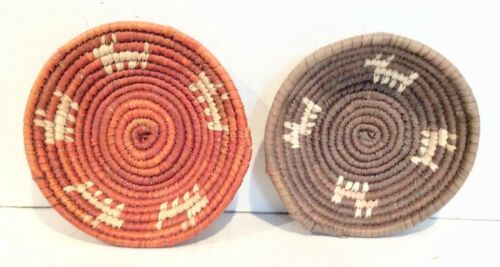 2 Tohono O'odham  Small Baskets, Deer, Papago, Handmade Native American