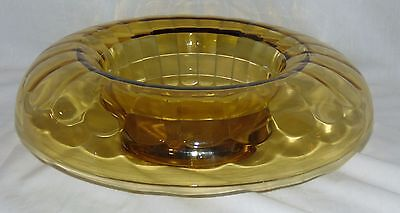 """Anchor Hocking BLOCK OPTIC AMBER* 11 3/4"""" ROLLED EDGE CONSOLE BOWL* Hard To Find"""