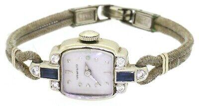 Tiffany & Co. Hamilton antique 14K WG .58CTW VS diamond & sapphire ladies watch