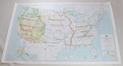 United States Vintage Original Historical Boundaries Nature Reservations Map