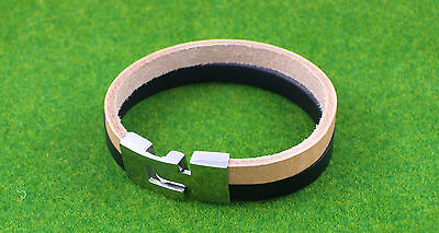 Gatik BR1069 Unisex Black & Tan Leather Bracelet With Stainless Steel Clasp