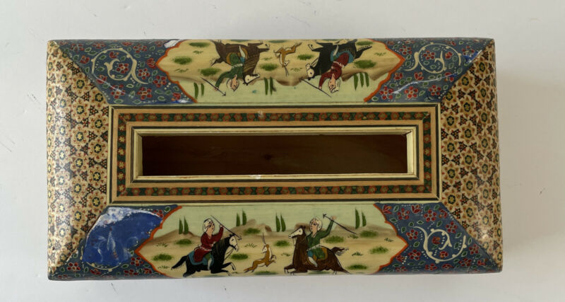"""Persian Khatam Marquetry Inlay Tissue Box 11""""x5.5""""x3"""" Chipped Paint"""