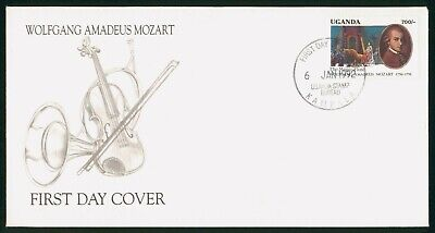 Mayfairstamps Uganda FDC 1992 Mozart Musical Instruments First Day Cover wwo_601