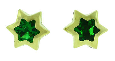 14k Solid Yellow Gold Star Shape 10 mm Green CZ Screw Back Stud Earrings 1 Gr   -