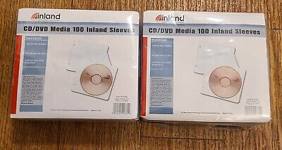 Lot Of 2 Packs Of Inland 100 Cd Dvd Sleeves 200 Total Small 2-ring Binder