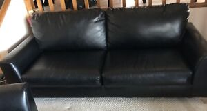 Black pleather couch and love seat