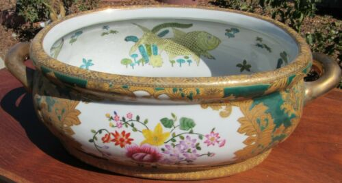 Signed Vintage Antique Chinese Porcelain  Oval Shape Fish Bowl Planter w/Handles