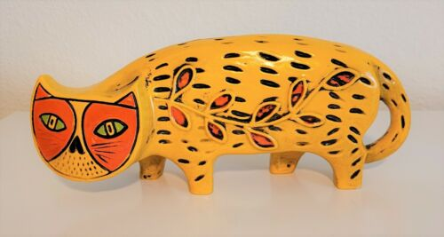 Vintage MCM 60s Yellow Orange Paper Mache Cat Coin Still Piggy Bank