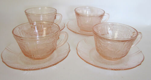 American Sweetheart Pink MacBeth Evans Depression Glass Cup & Saucer Set of 4