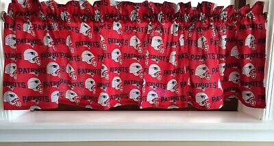 NEW NFL New England Patriots Football Sports Handmade Valance - Red Football Curtains