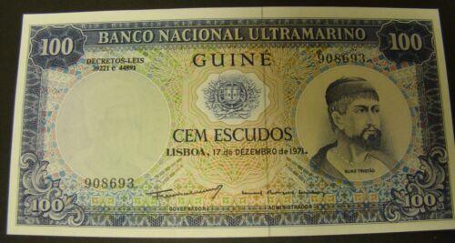 1971 PORTUGUESE GUINEA 100 Escudos Note Africa Ultramarino UNCIRCULATED Currency