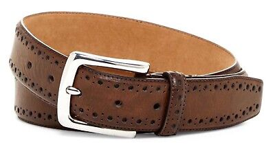 (COLE HAAN BELT PERFORATED TRIM DRESS BELT IN CHOCOLATE BROWN NEW W/TAGS)
