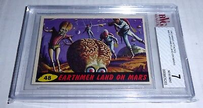 1962 Mars Attacks Earthmen Land On Mars Card #48 BVG 7 Like PSA BGS Alien Horror