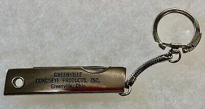 VINTAGE GREENVILLE CONCRETE PRODUCTS INC KEYCHAIN POCKET KNIFE ADVERTISER OHIO