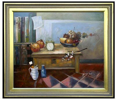 Framed, Still Life with Clock and Fruits, Hand Painted Oil Painting 20x24in ()