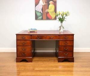 Antique Vintage Style Twin Pedestal Writing Desk - 8 Drawers Altona Hobsons Bay Area Preview