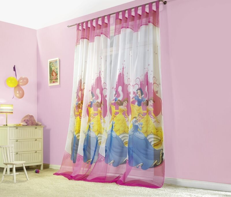 Gardinen Kinderzimmer Vorhang Set Princess Prinzessin 2er Packung 140x250 cm NEU