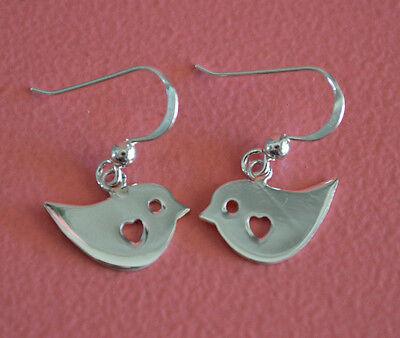 925 Sterling Silver Small Heart Bird Knot Dangle Hook Earrings - Bird Earrings