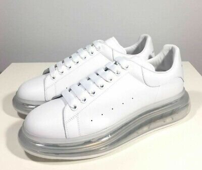 Brand-new Men's Alexander McQueen White Clear Air Sole Larry Sneakers in US 11