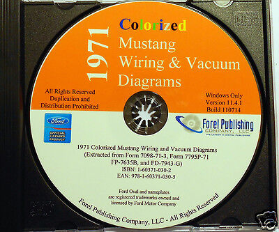 1971 Colorized Mustang Wiring Diagrams (cd-rom)