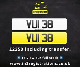 VUI 38 - 2 digit NI Number Plate- Cherished Personal Private Registration plates