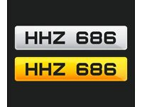 HHZ 686 - N.I 3x3 Dateless Number Plate