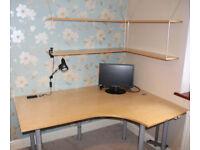 Corner Desk (Table, work surface) complete with shelves etc.