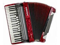 Hohner Bravo III 120 Bass Accordion in Excellent Condition Red pearl finish