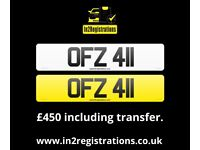 OFZ 411 - 3 digit Short NI Number Plate -Cherished Personal Private Registration plate-CAR,VAN,LORRY