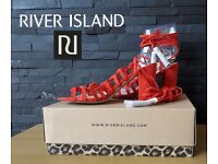 River island felix orange suede effect size 5 shoes