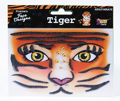 Halloween Face Tattoo Designs (TIGER FACE Designs Make-up Accessory Face Self Adhesive Décor)