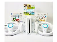 Nintendo Wii Console inc. Mario Kart, Wii sports, Wii Play 2 Controllers 2 wheels console stand sens