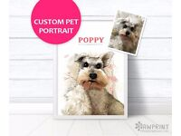 Custom pet portrait - Printed digital painting of your pet! Cat Dog Guinea Pig Rabbit Rats Horses