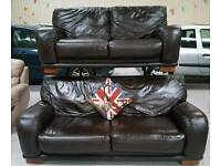 Large real leather 3 and 2 sofas in vgc can deliver 07808222995