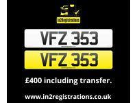 VFZ 353 - 3 digit dateless number plate for sale. - (Car,Van,Lorry,Motorhome,Jeep)