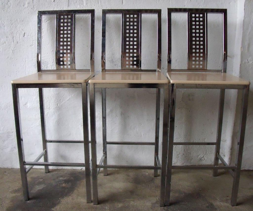 Set of Three Silver Metal Bar Stools in Wellingborough  : 86 from www.gumtree.com size 1024 x 854 jpeg 141kB