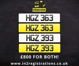 HGZ 363 & HGZ 393 Matching pair of NI number plates -Cherished Personal Private Registration plate