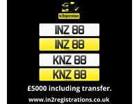 INZ 88 / KNZ 88 - Rare pair of 2 digit dateless number plate for sale. - (Car,Van,Lorry,Motorhome,)