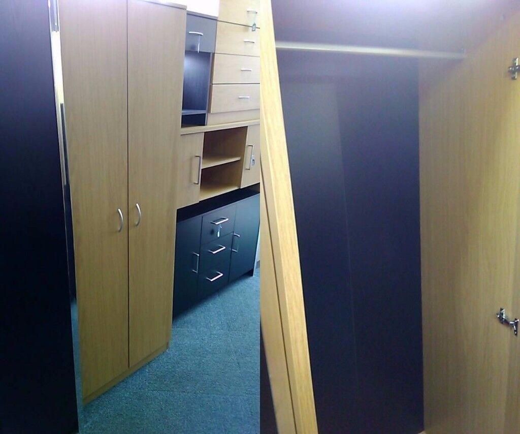 NEW 2 Door Wardrobe Oak Effect