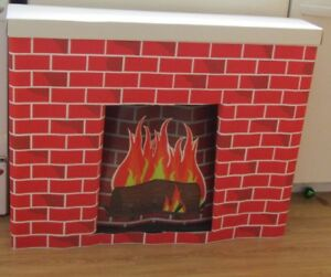new bemiss jason corobuff cardboard christmas holiday fireplace yule log set - Fake Fireplace Christmas Decoration