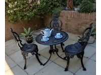 Garden table and chairs. Cast Aluminium. Victorian style.