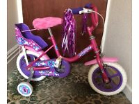 """Girl bike in pink with stabiliser and streamer, 11"""", suit upto 6 years old,"""