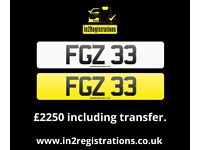 FGZ 33 - 2 digit NI Number Plate - Cherished Personal Private Registration plate-Car,Van,Lorry