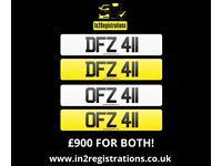 Matching pair of dateless NI number plates DFZ 411 & OFZ 411 for sale. - (Car,Van,Lorry,Motorhome)..